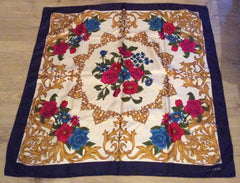 Italian Silk Scarf, Floral, Jaeger, Opulent Gold Blue Red Floral Colourway, Vintage Accessory, Fabric