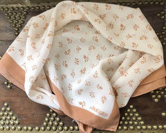 Brown and White Silk Scarf, Vintage Designer Jaeger, Coffee Colour, Floral Vintage Fabric