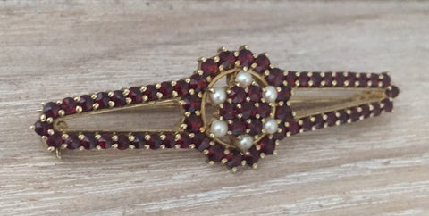 Bohemian Garnet with Pearls Brooch, Victorian Revival, European Silver Vintage Jewelry