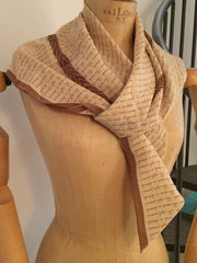 Chanel Scarf, Silk, Brown with Cream, Made in Italy