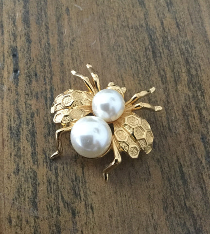 Napier Brooch, Baroque Pearl, Bug Insect, Mid Century American Vintage Jewelry