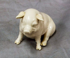 "Small Belleek Ceramic Pig,  2"" in height, Vintage Collectible"