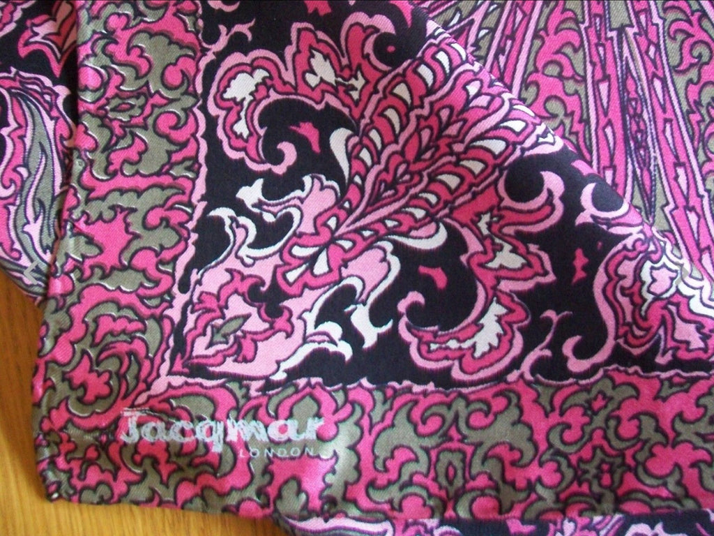 Designer Jacqmar Silk Scarf, Pink Paisley Vintage Accessory