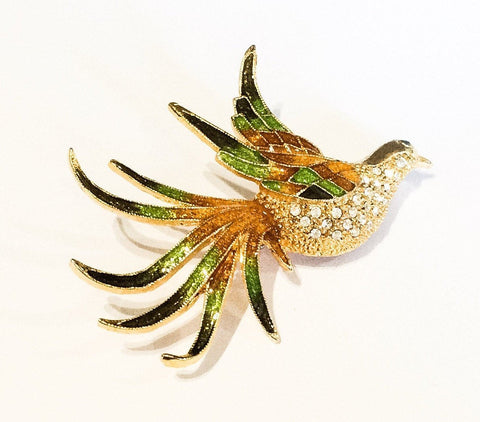 Glass Bird Brooch, Green and Amber Rhinestone, Vintage Jewelry