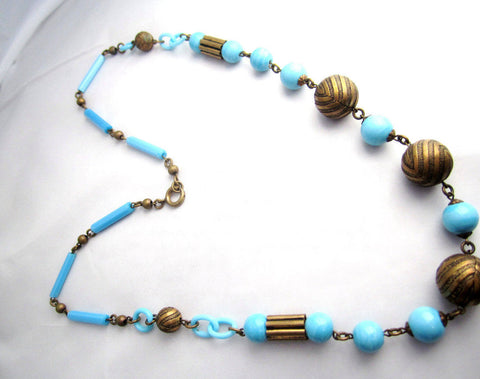 Blue Celluloid Necklace, Robins Egg, 1920s French Art Deco