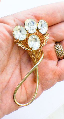 Glass Flower Bouquet Brooch French Art Deco Vintage Jewelry