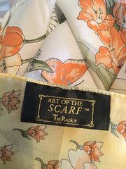 "Art of the Scarf Polyester Scarf, Shawl 36"", Floral, Italian, Yellow, Vintage Fabric"