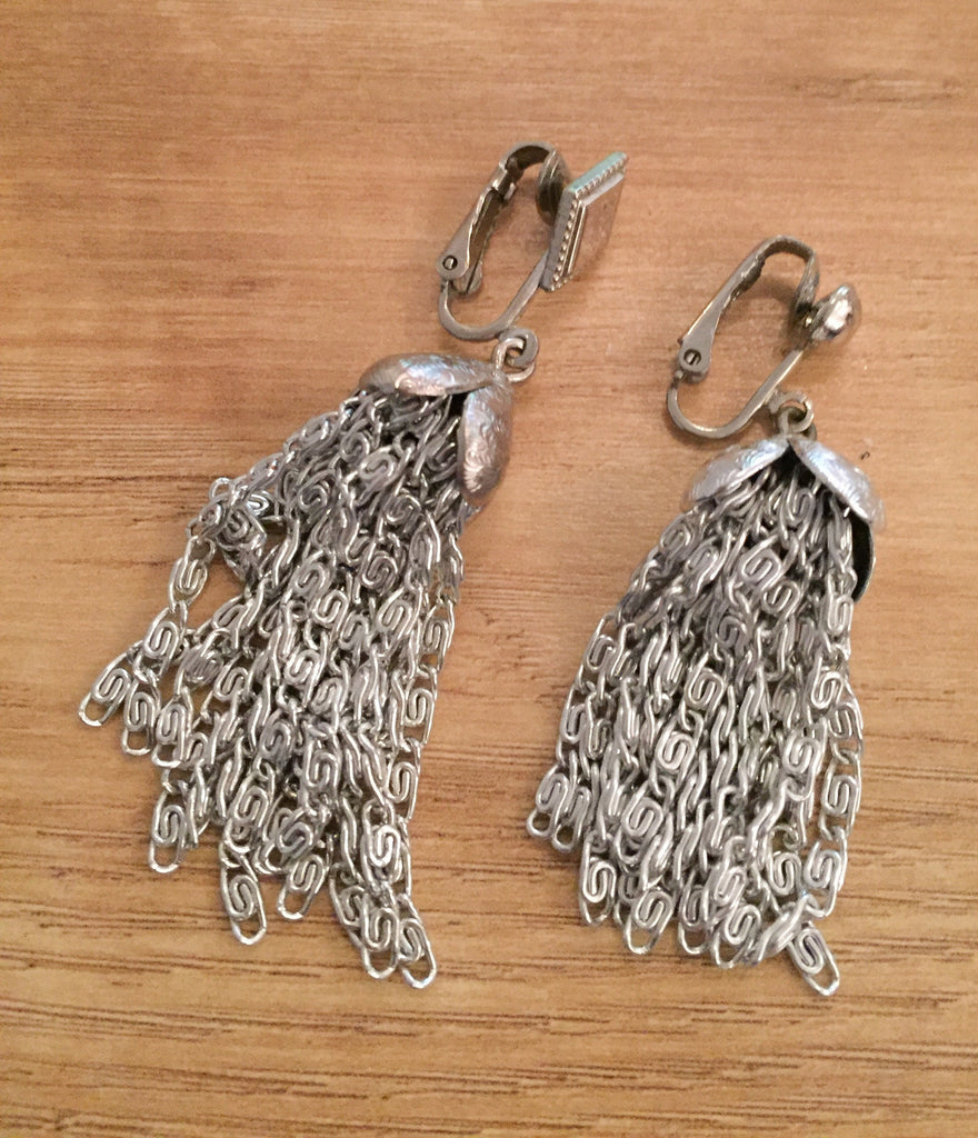 Silver Tassel Earrings, Bohemian Vintage Jewelry
