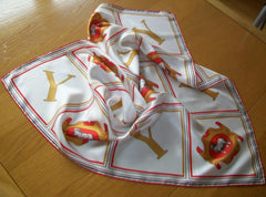 Vintage  Silk Scarf, Cavendish Silks, Initial Y, Seep, Vintage Ladies Accessories