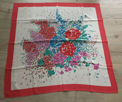 "Red Blue Summer Flowers Silk Scarf 33"", Vintage Ladies Accessories"