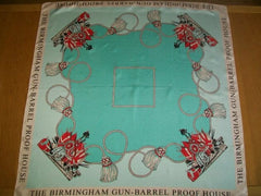 "Mint Green Silk Scarf, 36"", Birmingham Gun Barrel Proof House, Vintage Fabric"