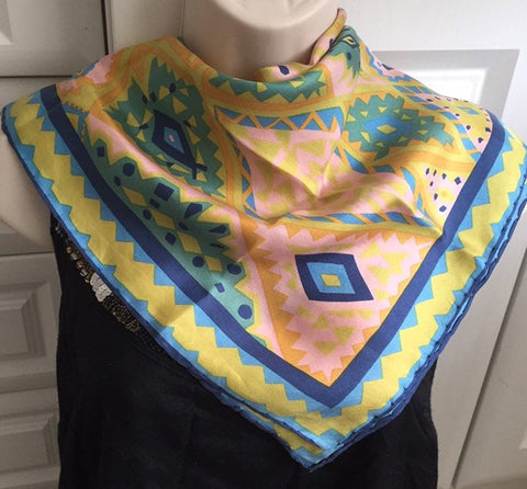 "1970s Pyschedelic Silk Scarf, Green Blue Patterned 26"", Vintage Fabric"