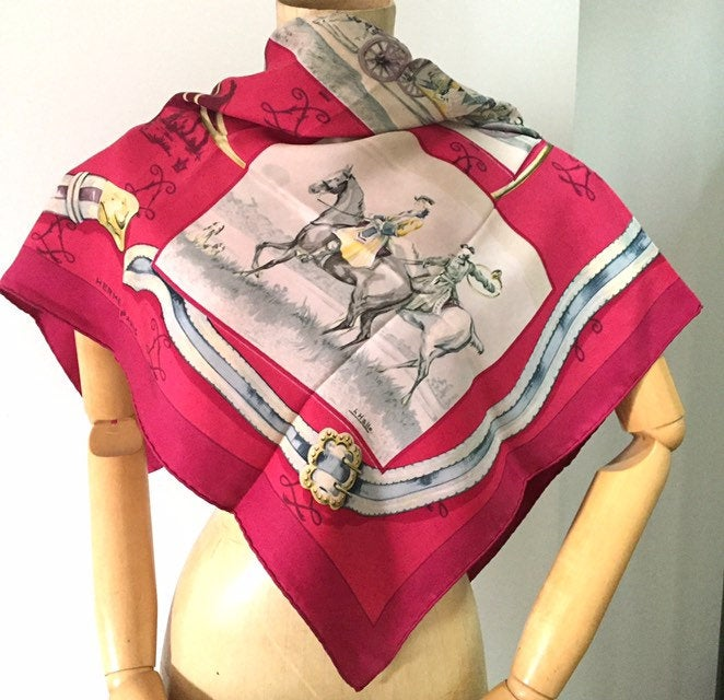 Boxed Hermes Deep Pink Silk Scarf, Chevaux, À Cor et à Cri, Vintage Ladies Accessories, 1960s Designed by Charles J Hallo