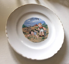 French Plate, Cycling, Amusing Wall Hanging, Hand Painted, Vintage Collectible