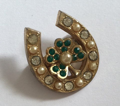 Lucky Horseshoe Brooch, Four Leaf Clover, Pearls and Brilliants, Art Deco 1940s Coro Designer Vintage Jewelry