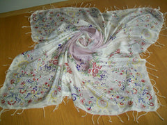 "Floral Silk Scarf, Floral, 36"" Large Square, Vintage Accessory, Fabric"