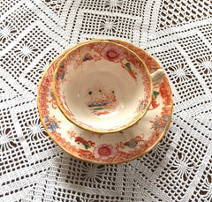 Chinoiserie China Tea Cup with Saucer, Victorian 1800s