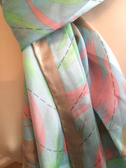 Peacock Feathers Silk Scarf,  Vintage Fabric