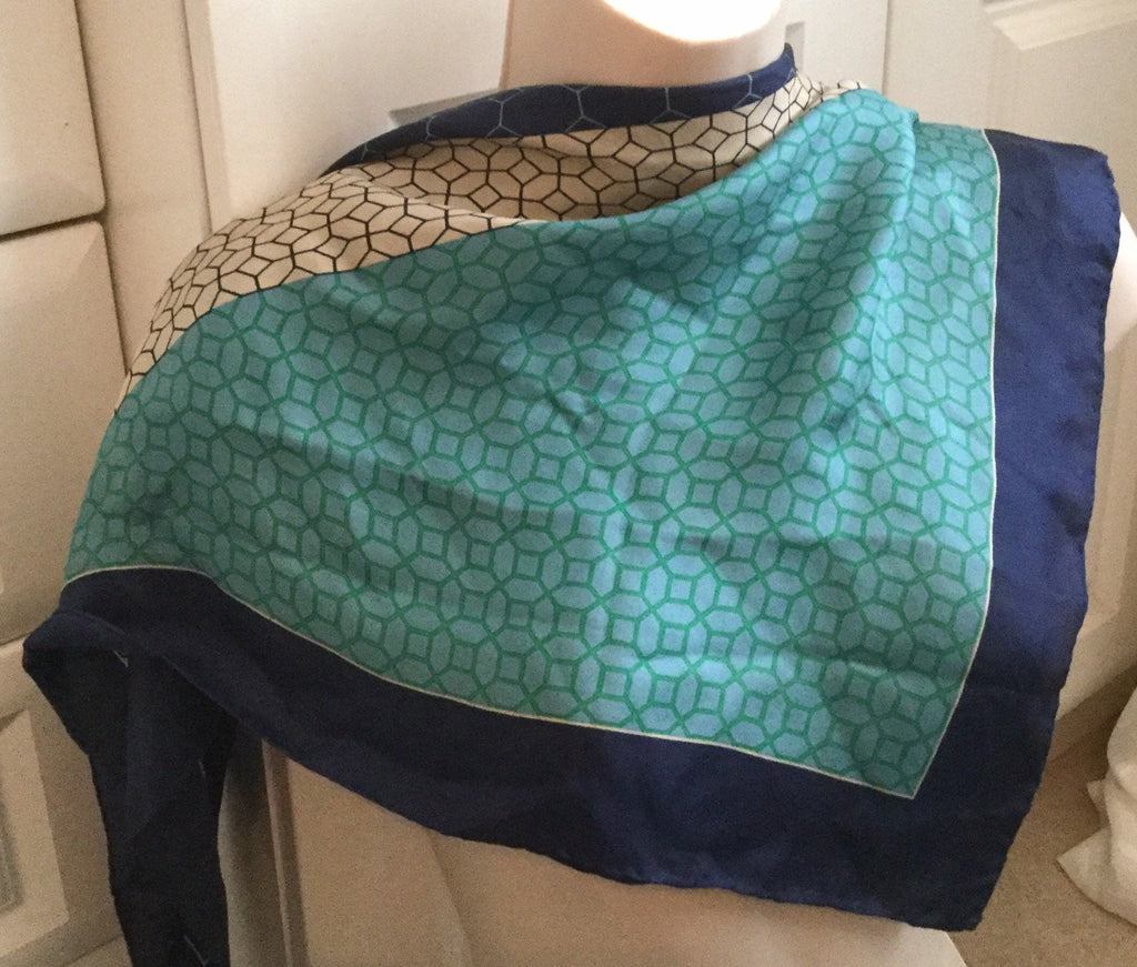 "Turquoise Blue Silk Scarf, 30"" Square, Japanese Vintage Fabric"