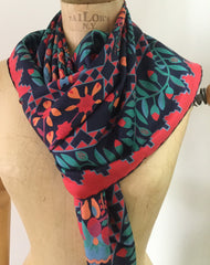 "Beckford Silk Scarf 36"", Arts Crafts Floral, Red Green Blue, Vintage Fabric"
