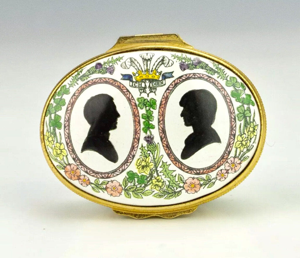 Charles and Diana, Royal Family, commemorative Halcyon Days  Trinket Box, English Vintage