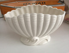 Sylvac Posy Bowl, Cream Clam Shaped, 1950s Art Deco Inspired Made in England