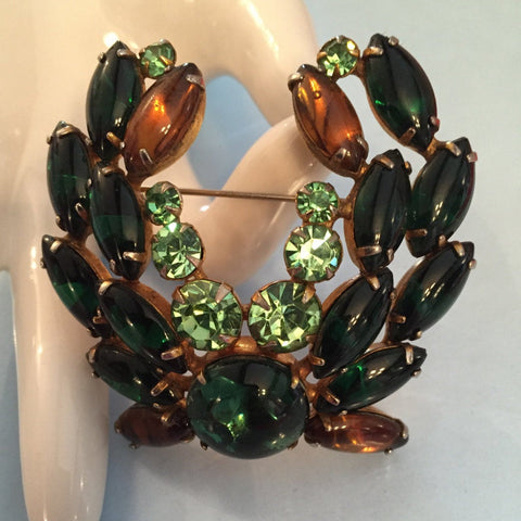 RESERVED NOW SOLD Vintage Juliana Brooch, Green Glass with Amber Glass Horse Shoe Brooch, Jewelry