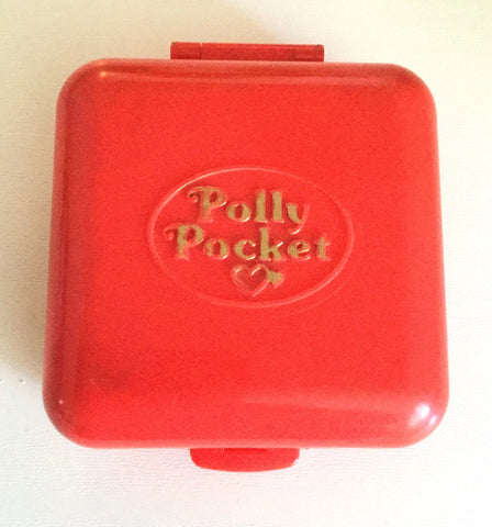 Polly Pocket Coral Red Town House Compact, 100% Complete, 1989  Vintage Toys