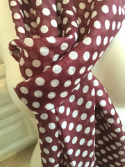 Long Skinny Polka Dot Silk Scarf,  National Trust, Burgundy with White Vintage Fabric
