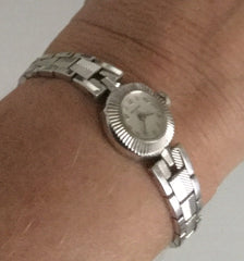 Ladies Bulova  Watch, 10K Rolled White Gold Face, 1960s Atomic Style