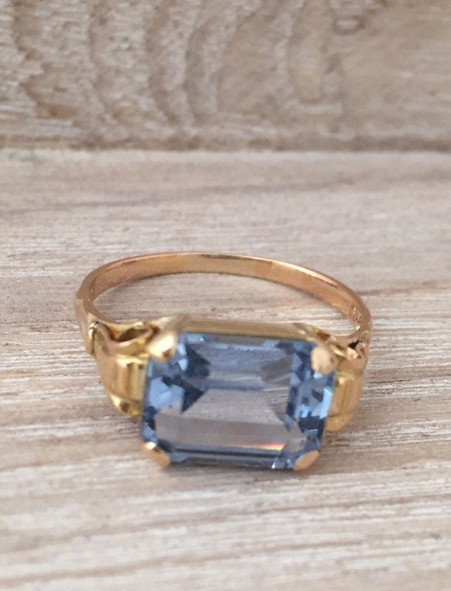 Aquamarine Ring 18K Gold, German Art Deco, Vintage