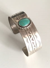 Turquoise Sterling Silver Cuff Bangle, Vintage Jewelry