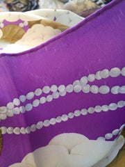 Purple Silk Scarf with Pearls Design,  Vintage Fabric