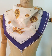 Autumnal Scarf featuring Golden Leaves and a Purple Border, Rayon Vintage Fabric