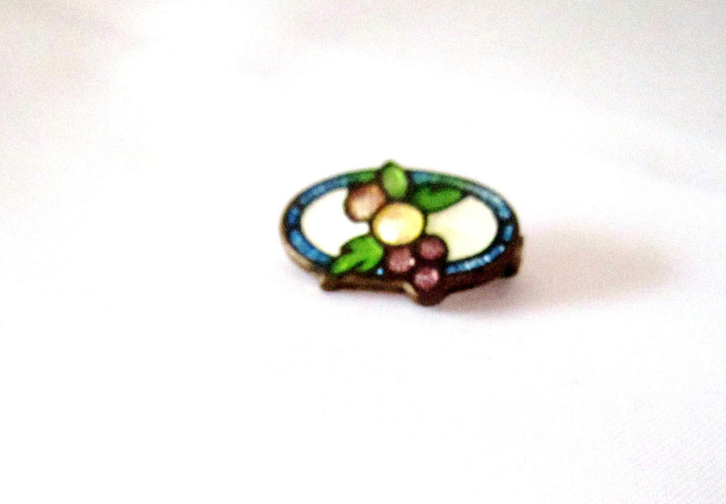 NOW SOLD Cloisonne Enamel Pin, Fruit, Art Deco Brooch 1920s  Vintage Jewelry