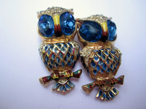 NOW SOLD Coro Owls Pin or Brooch, Duette, Vermeil Sterling Silver Brooch