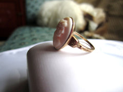 NOW SOLD Angel Skin Coral Ring, Cameo Lady, 10K Gold, Fine Jewelry