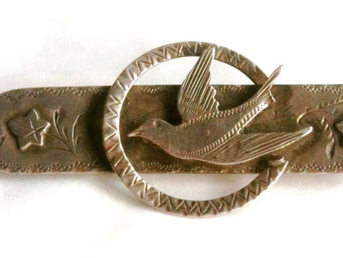 NOW SOLD Swallow Pin, Victorian Brooch, Bird Brooch, Sterling Silver, Vintage Antique Jewelry
