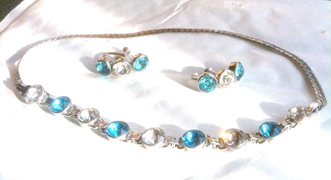 Sterling Silver Blue Rhinestone Choker Necklace Earrings 1940s