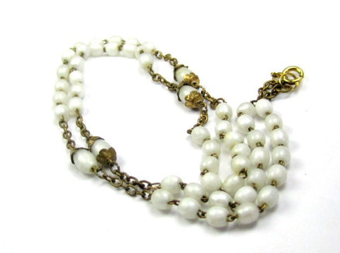 Art Deco Necklace, White Glass Beads, 1920s