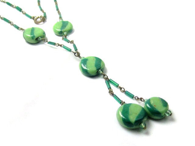 Art Deco Necklace, Green Striped Art Glass, Vintage Jewelry