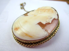 NOW SOLD Shell Cameo Brooch, Victorian Lady, 10K Gold, Vintage Fine Jewelry