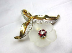 Poured Glass, Red Rhinestone Ciner Brooch with Earrings