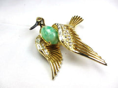 NOW SOLD Figural Weiss Brooch, Bird, Peking Glass