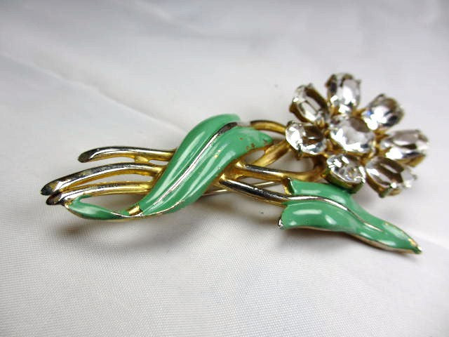 Green Enamel Flower Brooch, Large Glass Petals, Retro, Vintage Jewelry