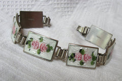 NOW SOLD Art Deco Bracelet, Guilloche Enamel Bracelet with Earrings, Sterling Silver, 1930s Vintage Jewelry
