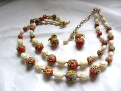 Hobe Necklace with Earrings Red Art Glass Retro Vintage Jewelry SALE