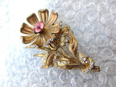 NOW SOLD Pink Czech Glass Large Flower Brooch, Art Nouveau Vintage Jewelry