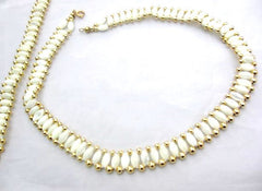 Italian Mother of Pearl Shell Necklace w Bracelet, Vintage Jewelry