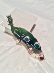 Mexican Peacock Brooch, Chalcedony, Jade, Rose Quartz, Carnelian, Vintage Jewelry